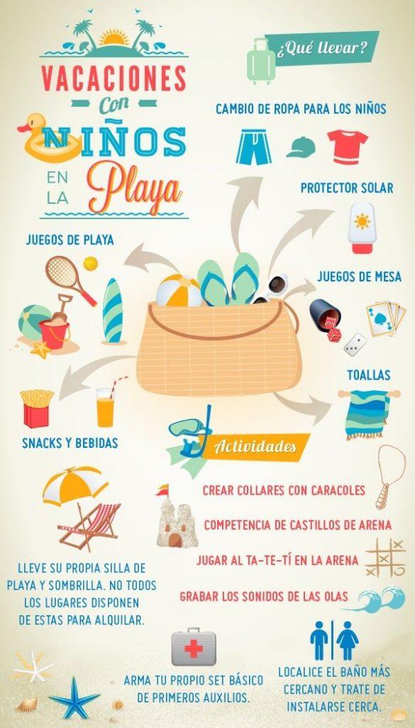 Infografía con tips para ir a la playa con bebés
